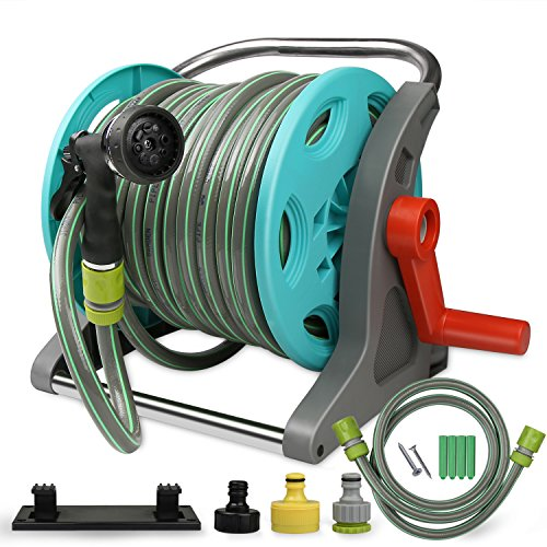 VOXON Garden Hose Reel With 20m Hose and Metal Spray Gun, 9 Adjustable...