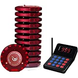 JOYSAE Portable Restaurant Pager System Rechargable Wireless Paging System with 10 Coaster Pagers and 1 Numeric Keypad Transmitter for Restaurant Clinic Church Cafe Shop - Extra Coaster Pager Free