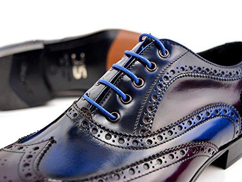 DIS Fred - Francesina Uomo Pelle Abrasivata Blu Viola La tua francesina da uomo in pelle abrasivata blu e viola, 100% made in Italy e personalizzabile