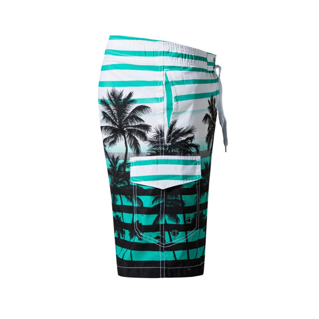 Raylans Mens Board Shorts Quick Dry Swimwear Print Slim Fit Beach Trunks