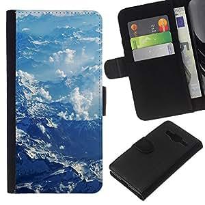 KLONGSHOP // Tirón de la caja Cartera de cuero con ranuras para tarjetas - Montañas Nubladas - Samsung Galaxy Core Prime //