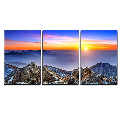 """Wall26 - 3 Piece Canvas Wall Art - Beautiful Landscape at Sunset on Deogyusan National Park in Winter,South Korea. - Modern Home Decor Stretched and Framed Ready to Hang - 24\""""x36\""""x3 Panels"""