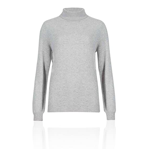 3c302a1a94dfb3 Ex Marks & Spencer M&S Autograph T383067 Pure Cashmere Polo Neck Jumper RRP  £89 - Silver Grey - UK 08: Amazon.co.uk: Clothing