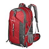OutdoorMaster Hiking Backpack 50L - Weekend Pack w/ Waterproof Rain Cover & Laptop Compartment - for Camping, Travel, Hiking (Red/Grey)