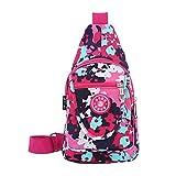 Cheap KARRESLY Women Outdoor Sports Casual Nylon Unbalance Backpack Crossbody Sling Bag Shoulder Bag Chest Bag(Pink)