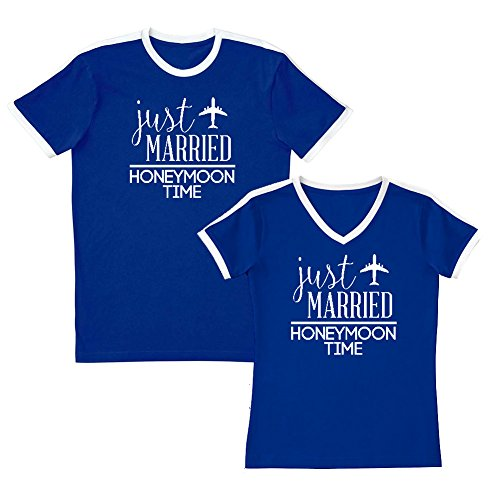 We Match! Couple Shirts - Just Married Honeymoon Time - Matching Couples Soccer Ringer T-Shirt Set (Ladies 2XL, Mens Medium, Royal, White Print) - Time Ringer T-shirt