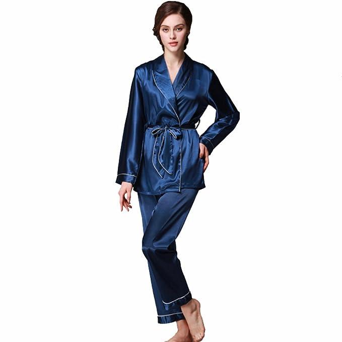 Pijamas para mujer, Pijamas Mujer invierno, Mujer camisones, Satén suave y cálido Manga