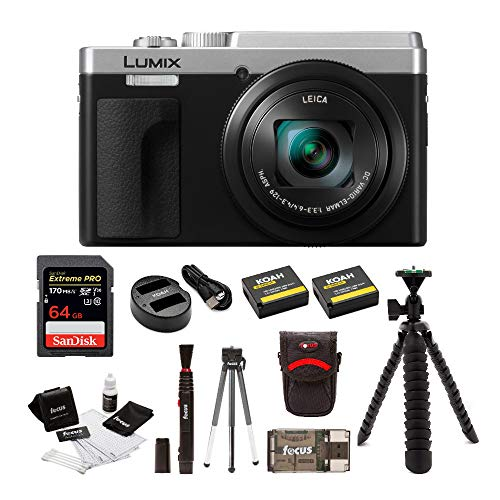 Extreme Bundle - Panasonic LUMIX ZS80 24-720mm Travel Zoom Lens Digital Camera (Silver) Bundle with 64GB Extreme Pro, 2 Battery/Dual Charger kit, Spider Tripod, and Camera Accessory Bundle