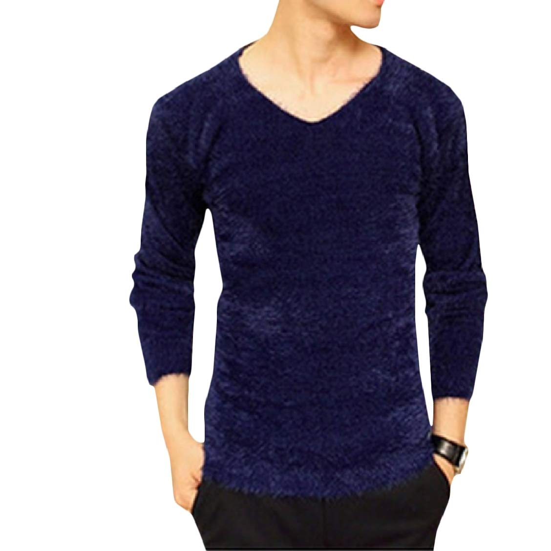 Freely Mens Notch Collar Velvet Slim Solid Oversized Long Sleeve Sweater Pullover