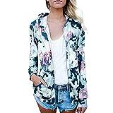 Makeupstore Womens Casual Blouse Coat,Floral Print Top Coat Outwear Sweatshirt Hooded Jacket Long Sleeves Overcoat