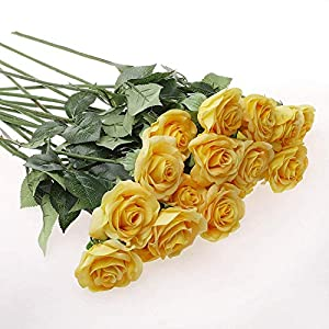 IPOPU 10 Pcs Romantic Real Touch Artificial False Latex Silk Blooming Roses Bouquet Floral Leaf for Home Wedding Party Garden Bridal Hydrangea Decorations DIY, Yellow 2