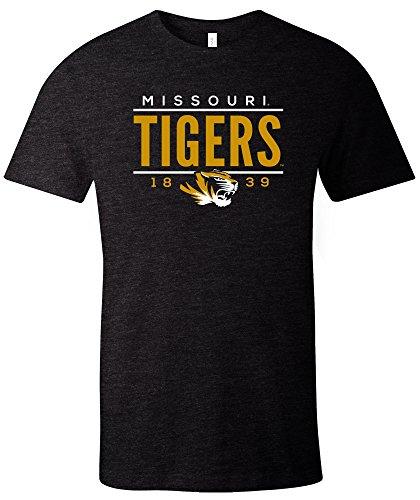 NCAA Missouri Tigers Tradition Short Sleeve Tri-Blend T-Shirt, Solid Black,Medium