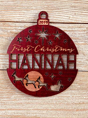 Personalized First Christmas Santa's Reindeer 2019 Ornament (or any year) Solid Wood (Names Santas Reindeer)