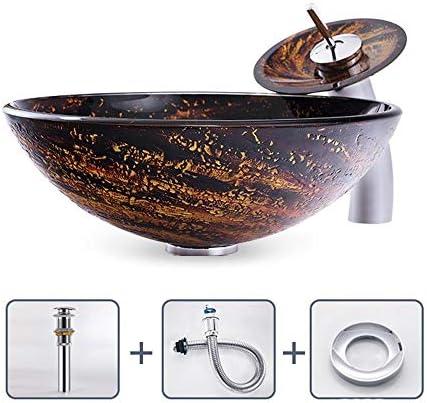 洗面ボウル 強化ガラス容器シンク浴室洗面所ラウンドボウルパターン盆地で石油ゴムブロンズの蛇口、ポップアップコンボドレイン 洗面台 洗面器 (Color : E, Size : 42X42x14.5cm)