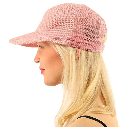 Game Day Visor (Everyday Bling Sequins Party Vented Solid Visor Baseball Ball Sun Cap Hat Pink)