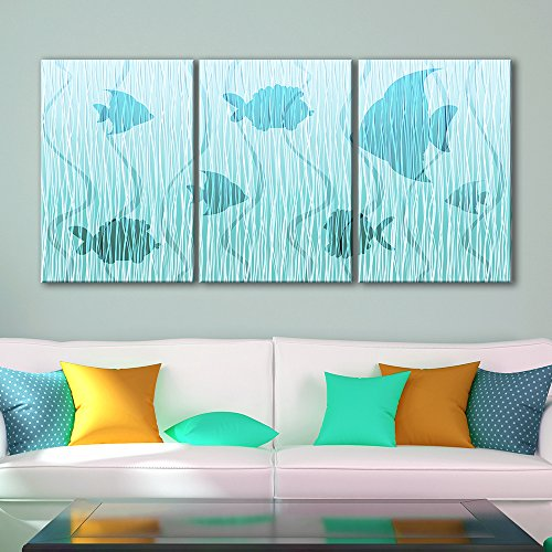 3 Panel Abstract Tropical Fish Pattern x 3 Panels