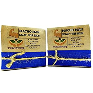 Macho Man Soap For Men Comes In Gift Box Handmade With Natural Ingredients Like Coconut Oil and Kaolin Clay (2 Pack)