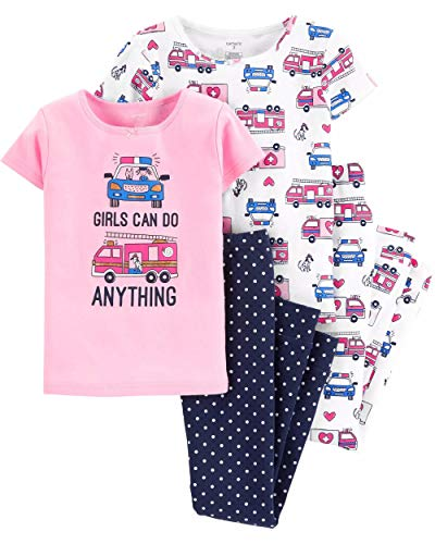 Carter's Girls Snug Fit Cotton 4 Piece PJ Pajama Sets (Pink/Navy Response Vehicles, -