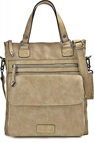 MIYA BLOOM, bolsos de señora, bolsas de compras, carteras, bandoleras, 33 x 36 x 10 cm (AN x AL x pr), color: gris arena