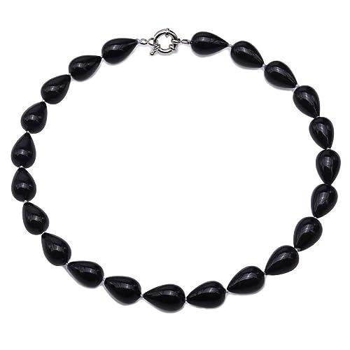 codice promozionale c5739 4be23 JYX, collana di perle nere 12 × 18,8 mm, collana di perle nere ...