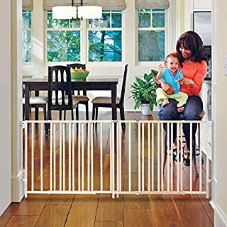 "Toddleroo by North States 103"" Wide Extra Wide Swing Baby Gate: Perfect for Oversized Spaces. No Threshold. One Hand Operation. Hardware Mount. Fits 60""- 103"" Wide (27"" Tall, Sustainable Hardwood)"