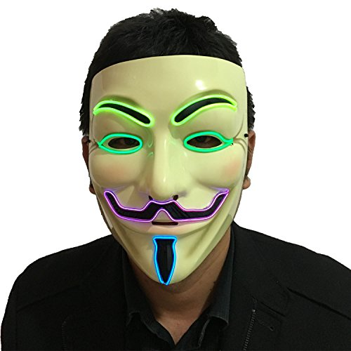 DevilFace Halloween Light Up V Mask EL Wire LED Mask For Vendetta Guy Fawkes Masquerades (Multi-Color)