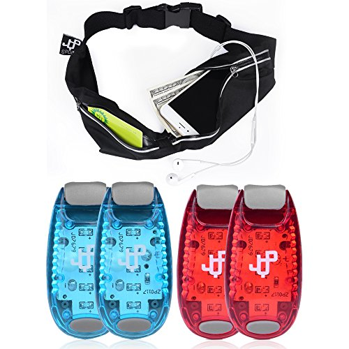 ONE DAY SALE! LED Safety Light (4 PACK) and Running Belt Sets, The Perfect Running Light and Runners Pouch, suitable for Jogging, Cycling, Biking, Dog Walking, Strobe Light, Waterproof