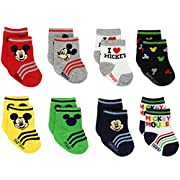 Mickey and Minnie Mouse Baby Boys Girls 8 pack Socks (0-6 Months, Mickey Multi)