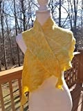 Hand knit asymmetrical shawl in hand dyed brilliant yellow of cashmere, merino wool and nylon blend.