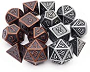 Haxtec Metal DND Dice Set D&D 7PCS of D20 D12 D10 D8 D6 D4 for Dungeons and Dragons TTRPG G