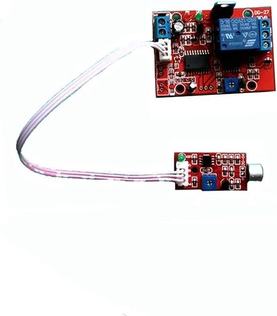 Taidacent - Módulo de relé de detección de sonido, módulo de sensor de sonido, módulo de alarma de voz activado por voz, 12 V: Amazon.es: Electrónica