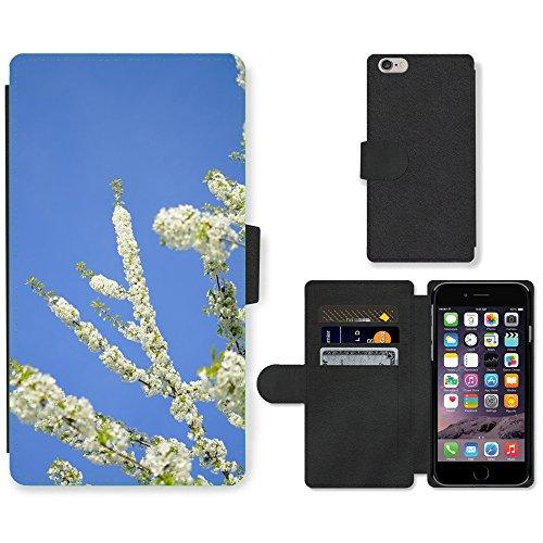 "Just Phone Cases PU Leather Flip Custodia Protettiva Case Cover per // M00129192 Cherry Blossoms Fleurs Arbre Blanc // Apple iPhone 6 4.7"""