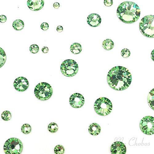 (PERIDOT (214) green 144 pcs Swarovski 2058/2088 Crystal Flatbacks green rhinestones nail art mixed with Sizes ss5, ss7, ss9, ss12, ss16, ss20, ss30)