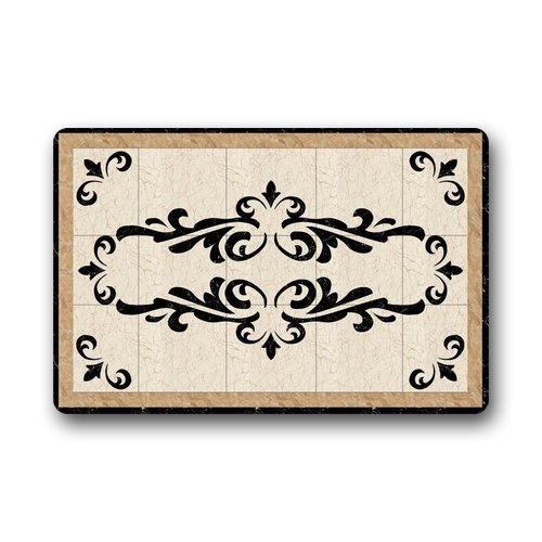 Marble water jet medallion background doormat gate pad for