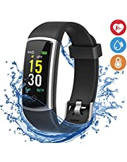 moreFit Fitness Armband mit Pulsmesser,IP68 Wasserdicht Fitness Tracker Farbbildschirm Aktivitätstracker Schrittzähler Uhr Blutdruck mit 14 Trainingsmodi Vibrationsalarm Anruf SMS Beachten für Damen Herren