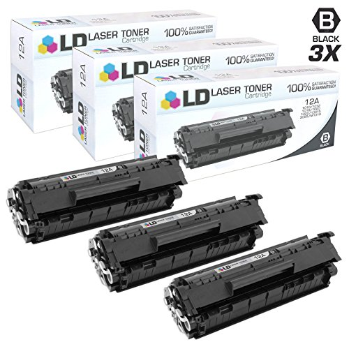 LD Compatible Replacements for HP Q2612A/12A Set of 3 Black Laser Toner Cartridges for HP LaserJet Printer Series by LD Products