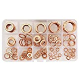 150pcs 15 Sizes Copper Washer Assorted Sealing Ring Solid Copper Gasket Washers Set with Box For Hardware Accessories
