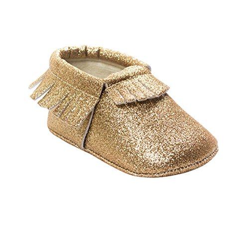 ESHOO Baby Girl Boy Shinny brillantes suave suela zapatos flecos Mocasín antideslizante Prewalker rojo rosso Talla:0-6 meses dorado