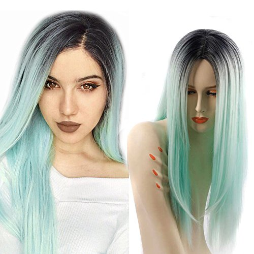 ZingSilky Synthetic wigs Light blue Ombre High temperature fiber Wigs for Black Women Long Straight Dark Roots (26inch, 1B#/Light blue) by Zing Silky