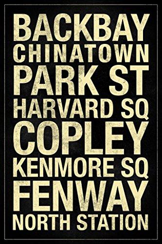 Laminated Subway Boston Black Sign Poster 12x18 inch