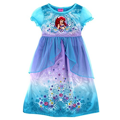[Disney Princess Girls Fantasy Nightgown Pajamas (2T, Little Mermaid Ariel Blue)] (Beauty And The Beast Costume Little Girl And Dog)