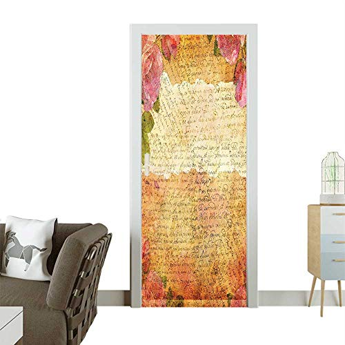 (Door Sticker Wall Decals Nostalgic Collage Old Latters sy Retro Romantic Work Cream Easy to Peel and StickW36 x H79)