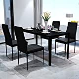 Bonnlo Modern 5 Pieces Dining Table Set Glass Top Dining Table and Chair Set for 4 Person Review