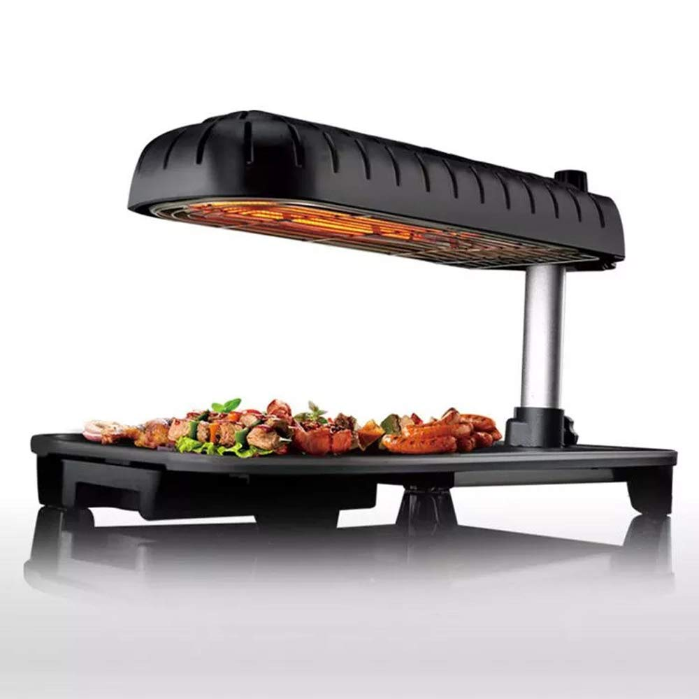 ZL Table-Top Party Grill,3D Grill Electric Teppanyaki,Table Grill Non-Stick Griddle with Adjustable Temperature BBQ Hot Plate Barbecue - Indoor Outdoor 1390W