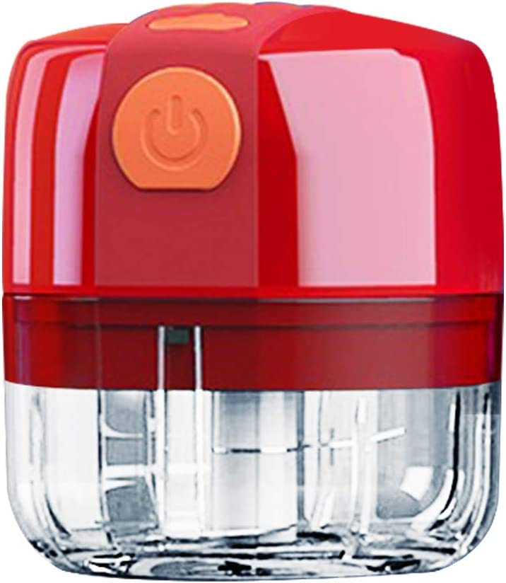 Electric Wireless Mini Food Processors,Blender Chopper for Fruits Vegetables Chilis Onions Nuts Pepper Ginger Salad Meat Ice, Mini Food Grinder,Baby Mini Blender,Garlic Mincer (100ml, red)