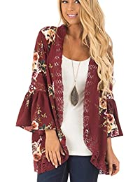Womens Floral Loose Bell Sleeve Kimono Cardigan Lace...