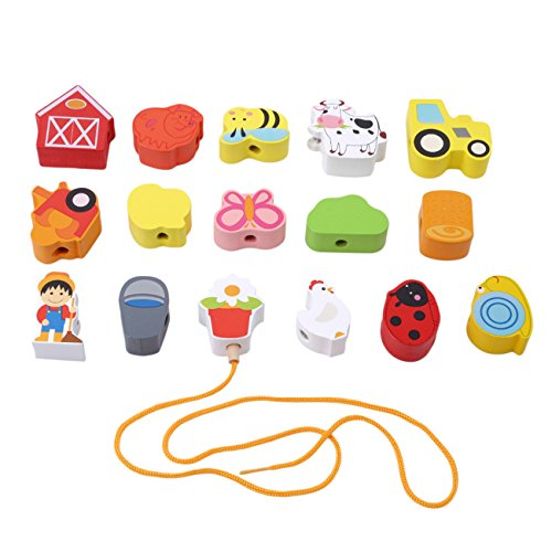 HS Wooden Lacing String Beads Blocks Set Educational Toys Hands String Game For kids (Farm)