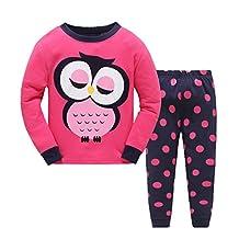 Girls Pajamas Cosy Long Sleeves Toddler Smart Owl Kids Pjs Sleepwear 2 Piece