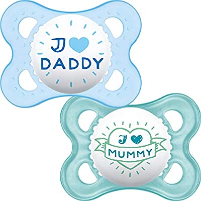 2-Pack Designs may vary MAM 0-2 Months Blue Start Soothers
