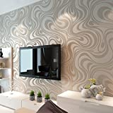 HANMERO Modern Minimalist Abstract Curves Glitter Non-woven 3D Wallpaper Roll Mural Papel De Parede Flocking Striped Wallcoverings For Bedroom Living Room TV Backdrop Cream White and Taupe